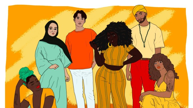 a drawing of a group of non white people