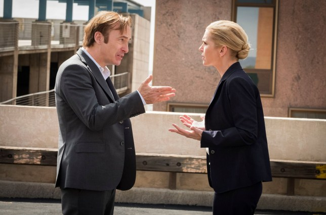 Editorial use only. No book cover usage. Mandatory Credit: Photo by Nicole Wilder/AMC/Sony/Kobal/REX (9982120dq) Bob Odenkirk as Jimmy McGill and Rhea Seehorn as Kim Wexler 'Better Call Saul' TV Show Season 4 - 2018 The trials and tribulations of criminal lawyer, Jimmy McGill, in the time leading up to establishing his strip-mall law office in Albuquerque, New Mexico.