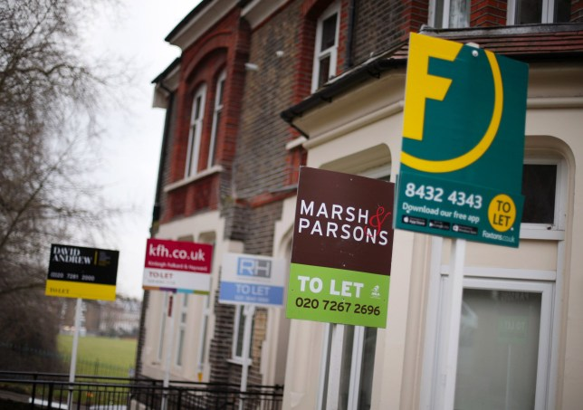 Embargoed to 0001 Friday February 21 File photo dated 08/02/17 of a row of To Let estate agent signs placed outside houses in north London. The gap is greatest in London, where home owners could find themselves 18% better off typically, adding up to savings of ??3,727 per year, Halifax said. PA Photo. Issue date: Friday February 21, 2020. Buying was found to beat renting across the UK, with those in Yorkshire and the Humber making the smallest savings on average at ??235 per year. See PA story MONEY Rent. Photo credit should read: Yui Mok/PA Wire