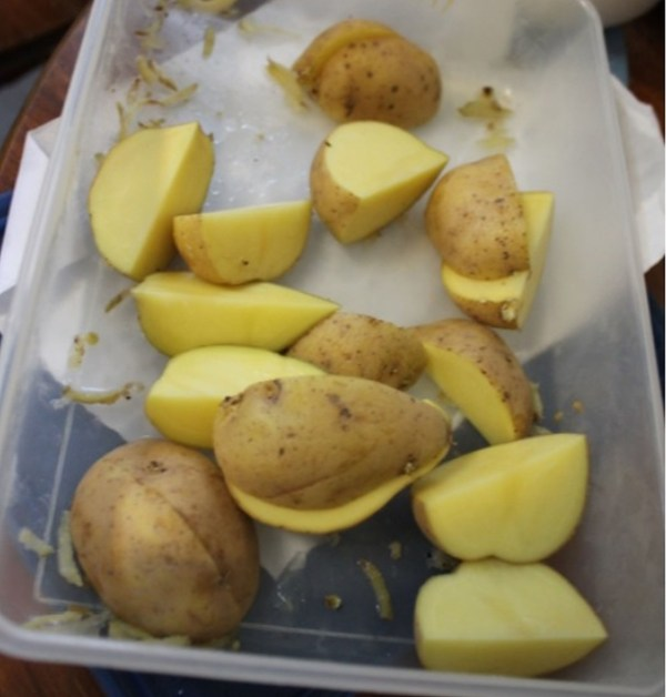 PIC FROM Kennedy News and Media (PICTURED: CHOPPED UP POTATOES) Doctors are imploring embarrassed piles sufferers to seek medical attention and not resort to bizarre online trends - including popping a piece of FROZEN POTATO up their bum. Those struggling with haemorrhoids are being urged not to rely on DIY spud suppositories lauded by online devotees and instead stay hydrated, enjoy a fibre-rich diet and visit a GP if things don't improve. Medics are warning desperate sufferers there's no medical evidence that home remedies such as inserting a frozen French fry-sized piece up there for 30 seconds can banish piles. DISCLAIMER: While Kennedy News and Media uses its best endeavours to establish the copyright and authenticity of all pictures supplied, it accepts no liability for any damage, loss or legal action caused by the use of images supplied and the publication of images is solely at your discretion. SEE KENNEDY NEWS COPY - 0161 697 4266