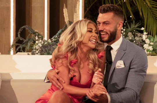 Paige Turley and Finley Tapp on Love Island.