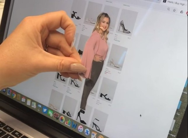 Woman has a tiny cutout of herself to make sure she always buys the right shoes online - Megan Papas