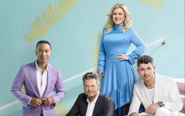 THE VOICE judges John Legend, Blake Shelton, Kelly Clarkson, Nick Jonas