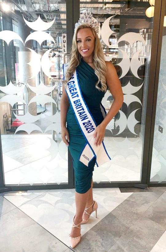 Jen Atkin on the night she won Miss Great Britain.
