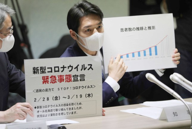 Hokkaido Governor Naomichi Suzuki (R) declares a state of emergency during a meeting on the new COVID-19 coronavirus in Hokkaido prefecture on February 28, 2020. - Japan's coronavirus-hit Hokkaido region on February 28 asked local residents to stay at home over the weekend as the northern area struggles to contain a fast-spreading outbreak. (Photo by STR / JIJI PRESS / AFP) / Japan OUT (Photo by STR/JIJI PRESS/AFP via Getty Images)