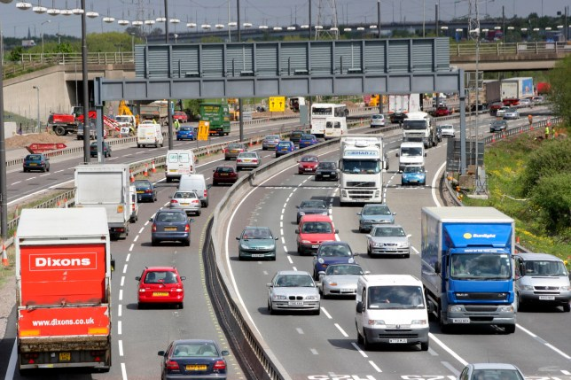 Heavy traffic on the M25 Motorway, London. (Photo by Simon Turner/Construction Photography/Avalon/Getty Images)