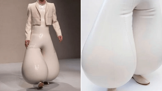 White inflatable latex trousers