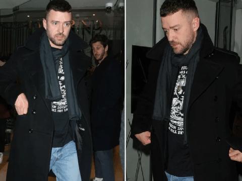 Justin Timberlake looks glum on London night out after Alisha Wainwright drama