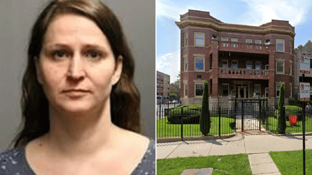 Mugshot of Sara Damyan next to file photo of apartment block where she was arrested