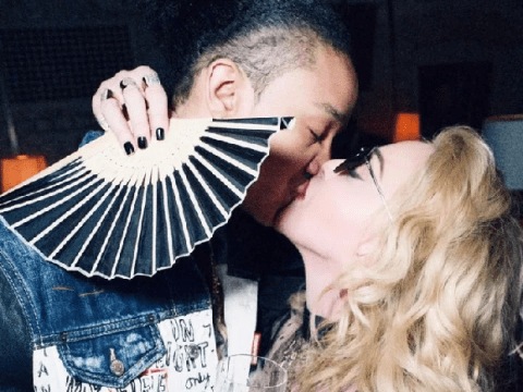 Madonna, 61, kisses boyfriend Ahlamalik Williams, 25, as she celebrates ending injury-plagued UK tour