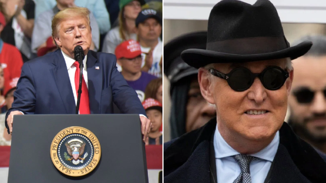 Photo of Donald Trump next to photo of Roger Stone