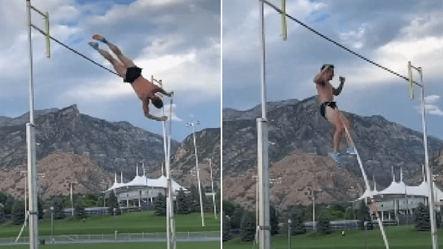 Grabs of Zach McWhorter impaling his scrotum while pole-vaulting
