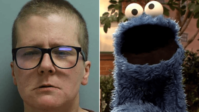 Mugshot of Rachel Love Martin next to file photo of Cookie Monster