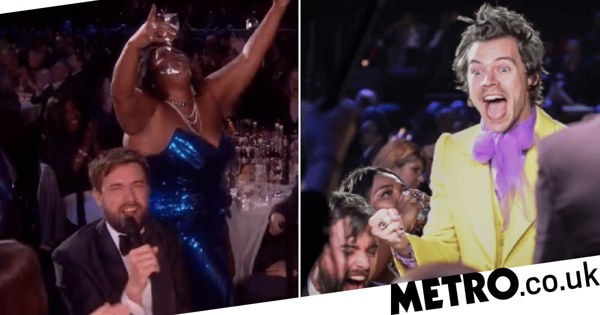 Harry Styles' reaction to Lizzo necking a wine glass of tequila is a mood
