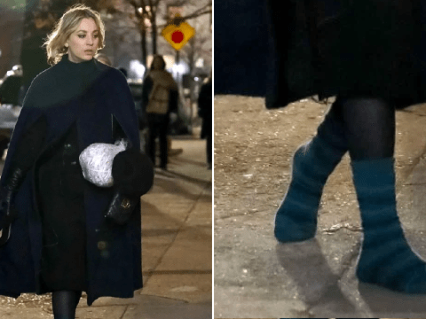 Kaley Cuoco braves New York City in her socks while filming on set of The Flight Attendant
