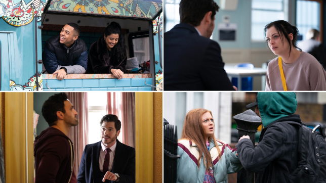 Keegan, Iqra, Whitney, Gray, Kush and Tiffany in EastEnders