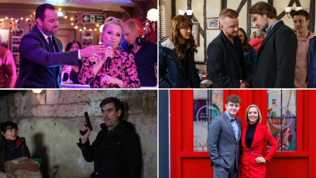 Mick, Linda, Maria, Ali, Gary, Ryan, Moira, Cain, Tom and Cindy in EastEnders, Coronation Street, Emmerdale and Hollyoaks