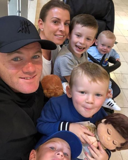 Wayne Rooney and Coleen Rooney and their four sons