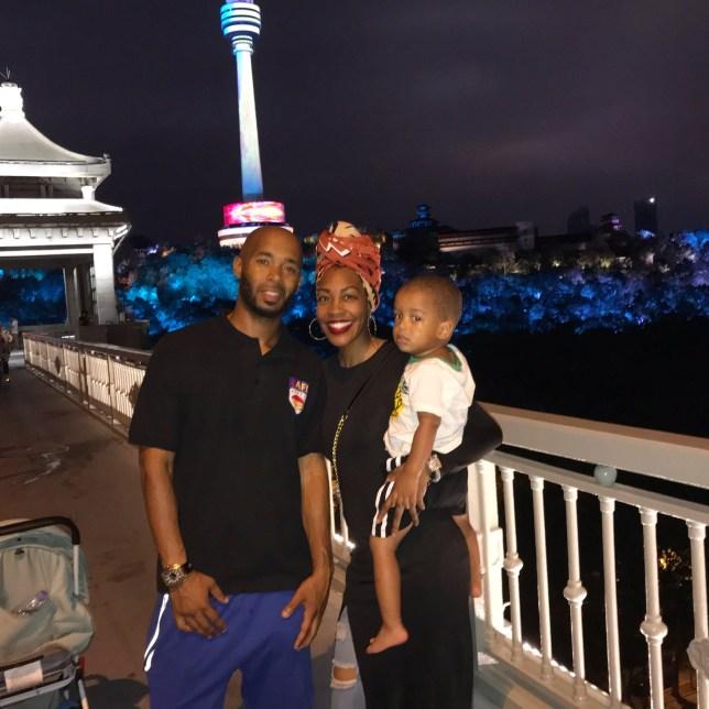 Imani Bashir with her husband and son