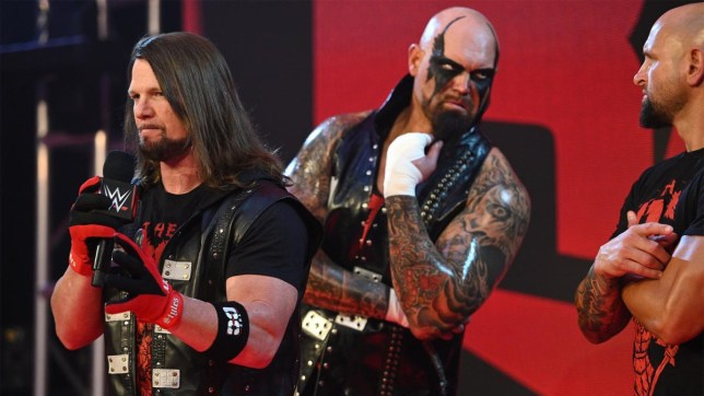 WWE superstars AJ Styles, Luke Gallows and Karl Anderson on Raw