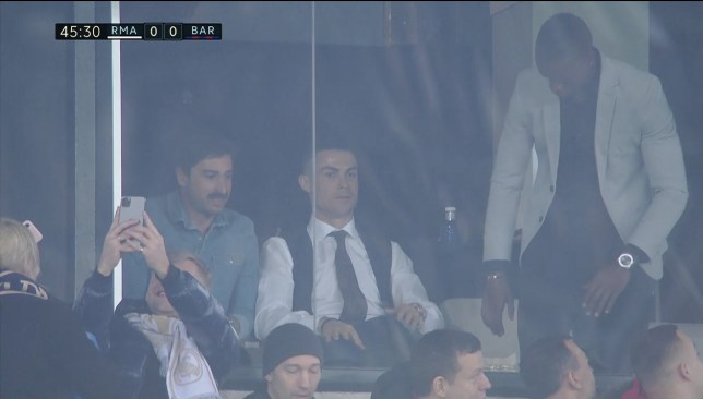 Cristiano Ronaldo was in attendance at the Bernabeu (Picture: BeIN Sports)