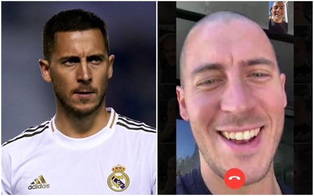 Eden Hazard showed off his shaved head to his barber