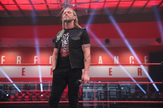 WWE superstar Edge appears at Raw at the Performance Center in Orlando, Florida