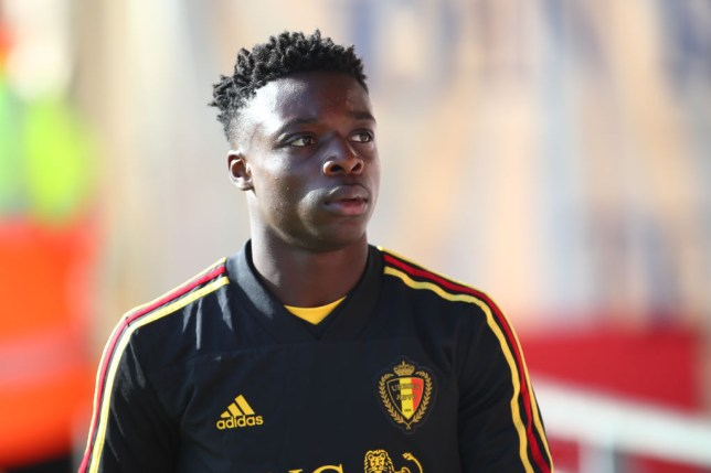 Jeremy Doku is pictured with the Belgian Under-21 squad before training