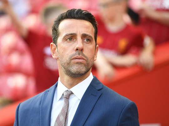 LIVERPOOL, ENGLAND - AUGUST 24: Arsenal Technical Director Edu the Premier League game between Liverpool FC and Arsenal FC at Anfield on August 24, 2019 in Liverpool, United Kingdom. (Photo by Stuart MacFarlane / Arsenal FC via Getty Images)