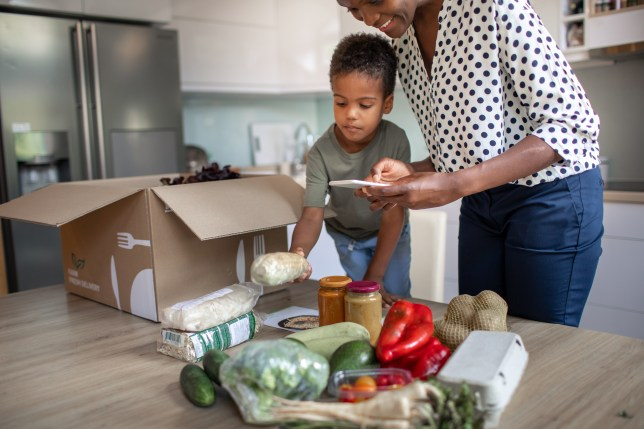Mother And Son Opening Parcel With Meal Kit