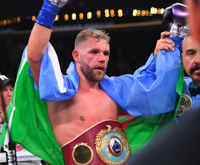 Billy Joe Saunders celebrates winning a boxing fight