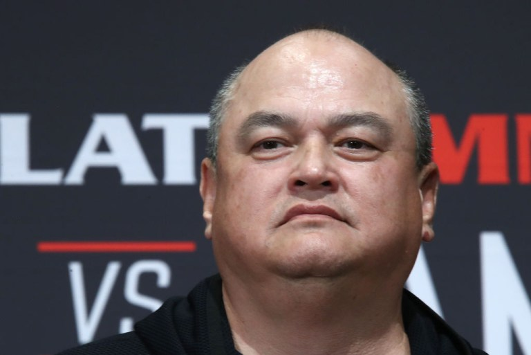 TOKYO, JAPAN  DECEMBER 28, 2019: Bellator MMA President Scott Coker attends a weigh-in ceremony ahead of the Bellator 237 main card heavyweight bout between Russian MMA fighter Fedor Emelianenko and his American rival Quinton Jackson, the cross-promotional event between Bellator MMA and the Rizin Fighting Federation scheduled to take place at Saitama Super Arena on December 29. Valery Sharifulin/TASS (Photo by Valery SharifulinTASS via Getty Images)