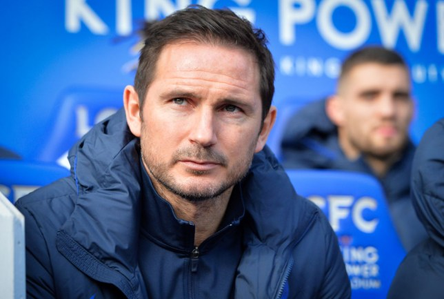 Frank Lampard is pictured sitting on the bench before a Chelsea game