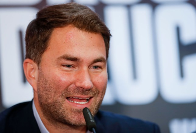 Eddie Hearn speaks to the media at a boxing press conference