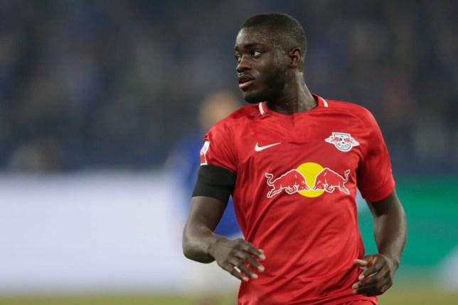 Arsenal transfer target Dayot Upamecano during Leipzig's Bundesliga clash with Schalke