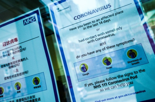 Signs offer advice regarding the covid-19 coronavirus in a window.