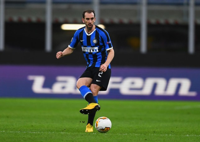 MILAN, ITALY - FEBRUARY 27:  Diego Godin of FC Internazionale in action during the UEFA Europa League round of 32 second leg match between FC Internazionale and PFC Ludogorets Razgrad at Giuseppe Meazza Stadium on February 27, 2020 in Milan, Italy.  (Photo by Claudio Villa - Inter/Inter via Getty Images)