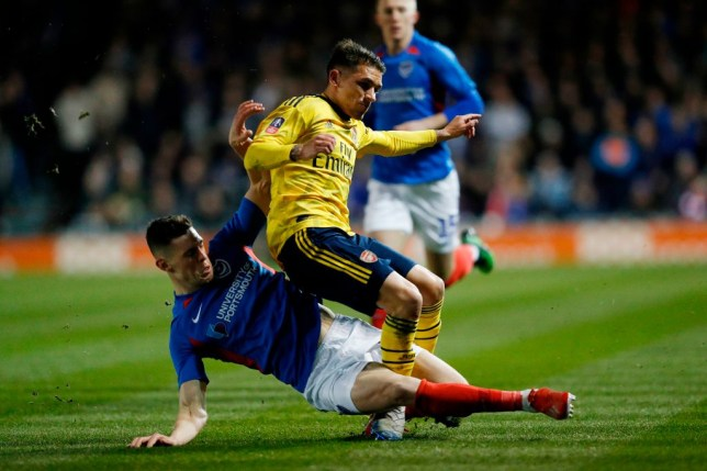 Arsenal's Lucas Torreira fractured his ankle during Monday's win over Portsmouth