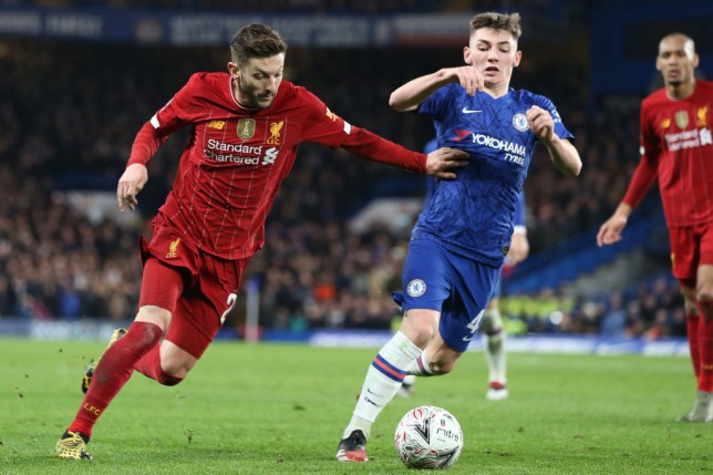 Adam Lallana and Billy Gilmour compete for the ball during Liverpool's FA Cup defeat to Chelsea