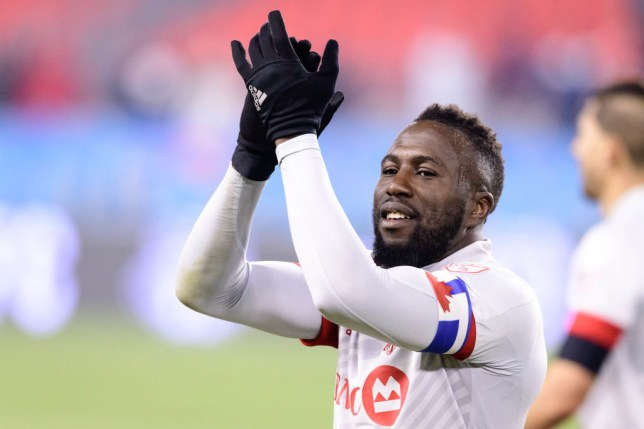 TORONTO, ON - MARCH 07: Jozy Altidore (17) of Toronto FC applauds the fans after the MLS regular season match between Toronto FC and New York City FC on March 7, 2020, at BMO Field in Toronto, ON, Canada. (Photo by Julian Avram/Icon Sportswire via Getty Images)