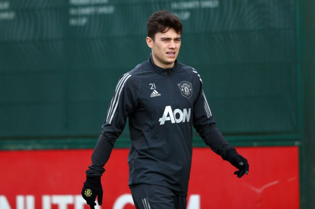 Daniel James during Manchester United training