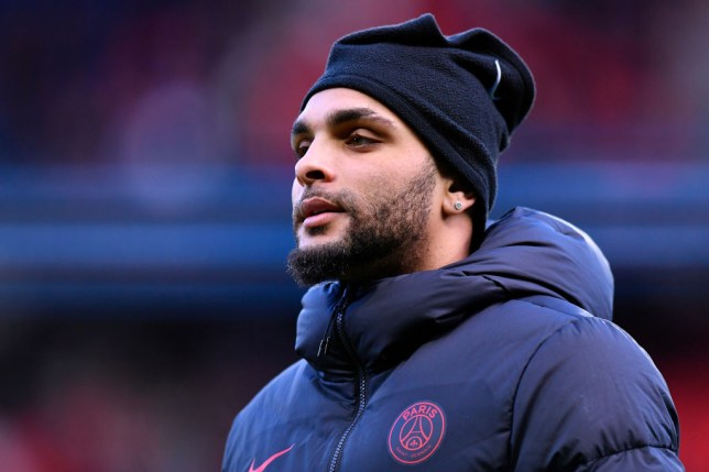 Layvin Kurzawa warms up for PSG before a game
