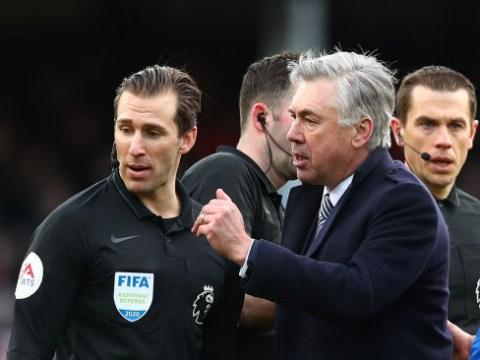 Carlo Ancelotti sent off after verbal tirade at ref for disallowing Dominic Calvert-Lewin goal