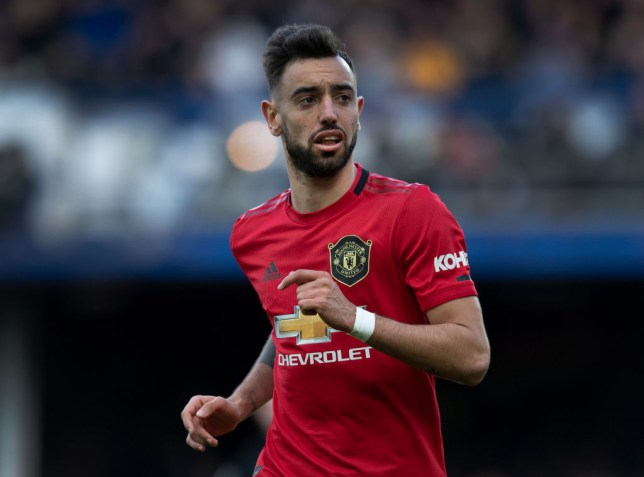 Bruno Fernandes of Manchester United in action during the Premier League match between Everton FC and Manchester United at Goodison Park on March 01, 2020 in Liverpool, United Kingdom.
