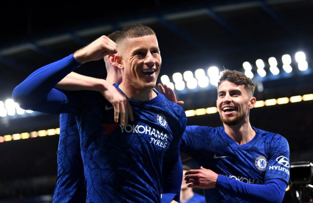 Ross Barkley celebrates after scoring a goal for Chelsea against Liverpool