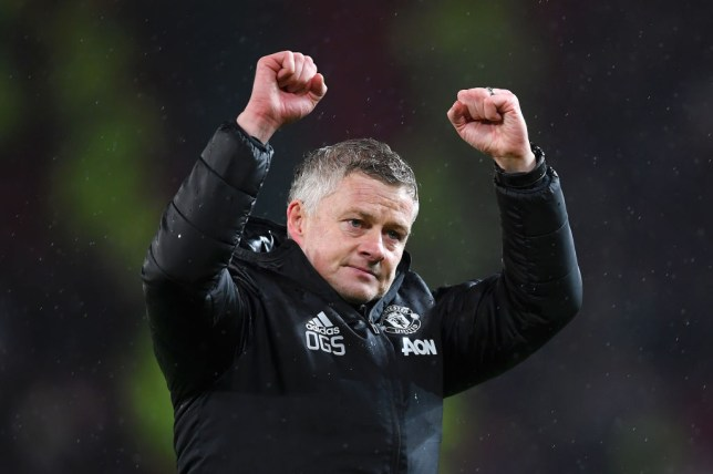 MANCHESTER, ENGLAND - MARCH 08: Ole Gunnar Solskjaer, Manager of Manchester United celebrates after the Premier League match between Manchester United and Manchester City at Old Trafford on March 08, 2020 in Manchester, United Kingdom. (Photo by Laurence Griffiths/Getty Images)