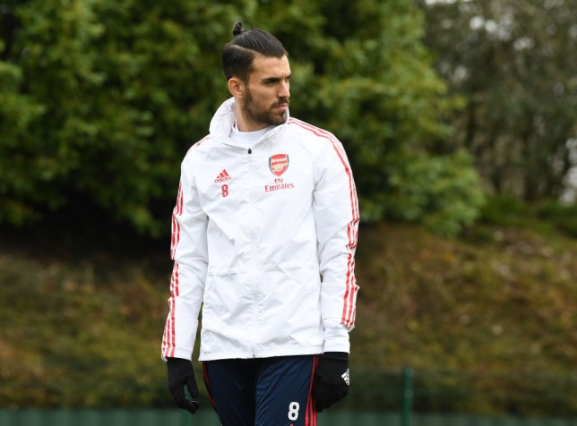 Dani Ceballos looks on during Arsenal training