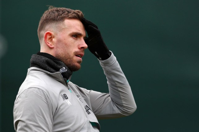 LIVERPOOL, ENGLAND - MARCH 10: Jordan Henderson of Liverpool looks on during a Liverpool FC Training session at Anfield on March 10, 2020 in Liverpool, United Kingdom. Liverpool FC will face Atletico Madrid in their UEFA Champions League round of 16 second leg match on March 11, 2020. (Photo by Jan Kruger/Getty Images)