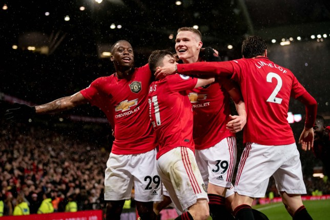 Scott McTominay celebrates a goal against Man City