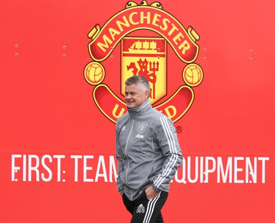 MANCHESTER, ENGLAND - MARCH 11: Manager Ole Gunnar Solskjaerof Manchester United in action during a first team training session at Aon Training Complex on March 11, 2020 in Manchester, England. (Photo by Matthew Peters/Manchester United via Getty Images)